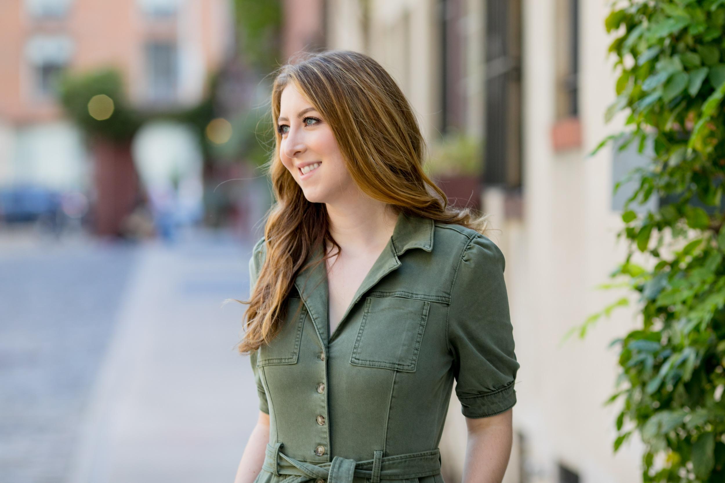 Julia Lynch wearing green dress